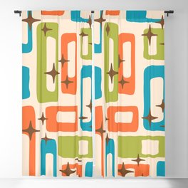Retro Mid Century Modern Abstract Pattern 921 Orange Chartreuse Turquoise Blackout Curtain