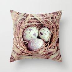 Birds Nest Eggs Throw Pillow