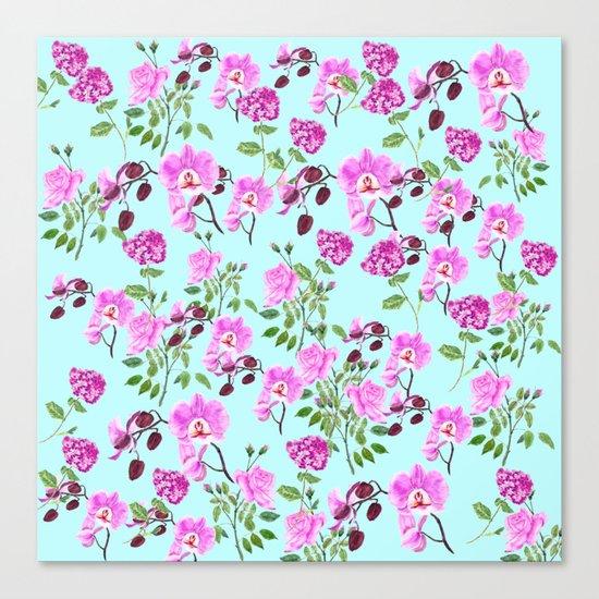pink purple flowers watercolor painting Canvas Print