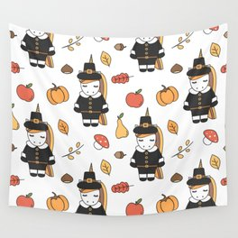 cartoon thanksgiving pattern with pilgrim unicorns, pumpkins, apples, pears, leaves and acorns Wall Tapestry