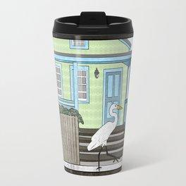 Great Egret and House Travel Mug