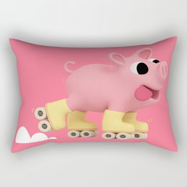 Rosa the Pig does Rollerskating Rectangular Pillow
