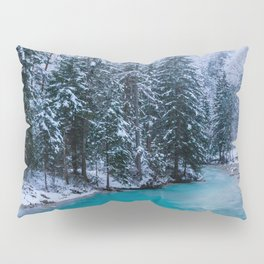 Magical river in enchanted winter forest Pillow Sham