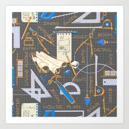 Architects + Builders Tools Pattern Art Print