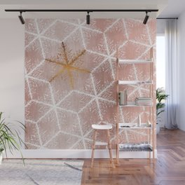 Elegant Geometric Gold Snowflakes Holiday Pattern Wall Mural