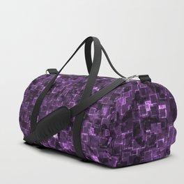 Purple Cyber Glow Neon Squares Pattern Duffle Bag