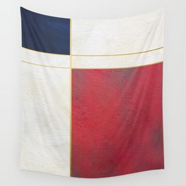 Blue, Red And White With Golden Lines Abstract Painting Wall Tapestry