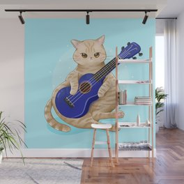 Cat with ukulele Wall Mural