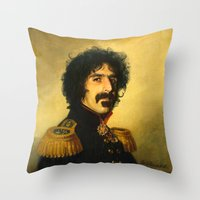 replaceface Throw Pillows featuring Frank Zappa - replaceface by replaceface