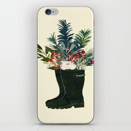 Christmas Boot Floral Bouquet No Text iPhone Skin
