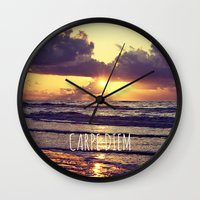carpe diem Wall Clocks featuring Carpe Diem by Libertad Leal Photography