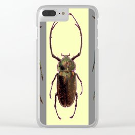 BEETLES ON CREAM & GREY  ABSTRACT ART Clear iPhone Case
