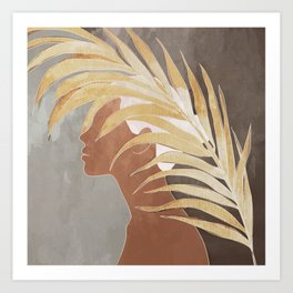 Woman with Golden Palm Leaf Art Print
