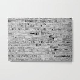 Black and White Brick Wall Metal Print