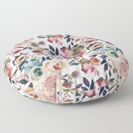 Blush Pink Peonies with White Floor Pillow