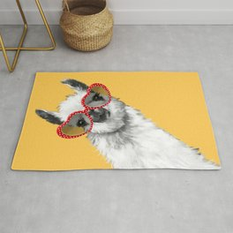 Fashion Hipster Llama with Glasses Rug