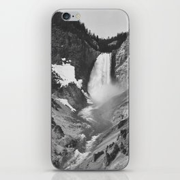 Yellowstone Falls (1941) Ansel Adams Black and White Photography iPhone Skin