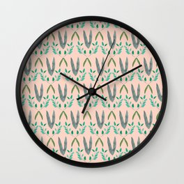 Watercolor Leafy Pattern Wall Clock