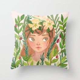 Herbs and Wildflower Nymph Throw Pillow