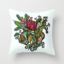 Rose Tattoo Throw Pillow