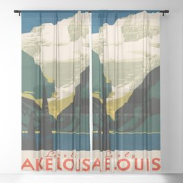 Lovely Lake Louise vintage travel ad Sheer Curtain