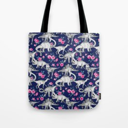 Dinosaurs and Roses on Dark Blue Purple Tote Bag
