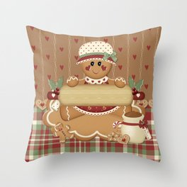 Gingerbread Country Christmas Throw Pillow
