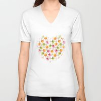 daenerys V-neck T-shirts featuring Flowers Pattern                       by albert Junior