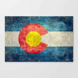 Colorado State Flag in Vintage Grunge Canvas Print