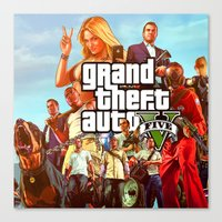 grand theft auto Canvas Prints featuring Grand theft auto 5 by customgift