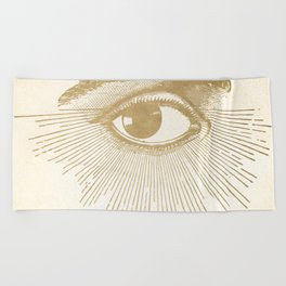 I See You. Vintage Gold Antique Paper Beach Towel