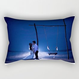 Married Couple Embraces On The Beach (Wedding) Rectangular Pillow