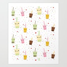 Colorful Happy Bubble Tea Art Print