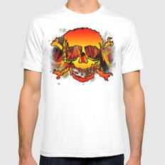 skulls MEDIUM White Mens Fitted Tee