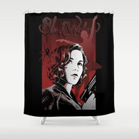 black widow Shower Curtains featuring Black Widow by DeanDraws