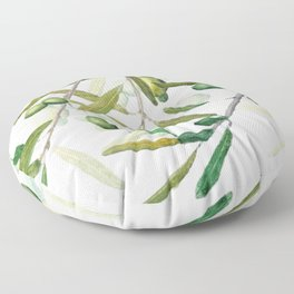 Green Olive watercolor painting Floor Pillow