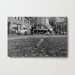 Down By UnionSq in Black & White Metal Print