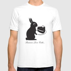 Bunnies Love Cake, Bunny Illustration, cake lovers, animal lover gift White SMALL Mens Fitted Tee