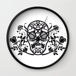 SKULL FLOWER 01 Wall Clock