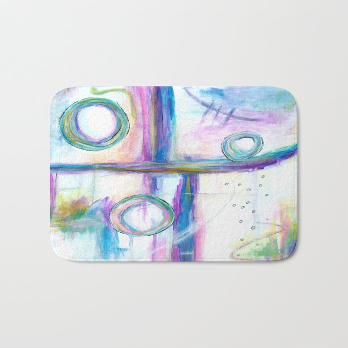 Just the Three of Us, Abstract Art Painting Bath Mat