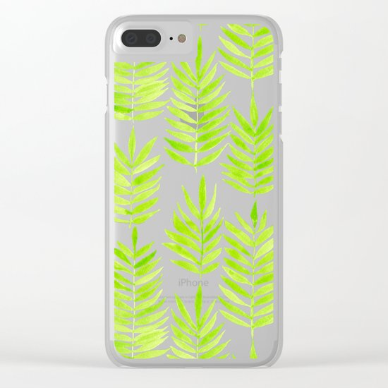 Watercolor tropical leaves in green Clear iPhone Case