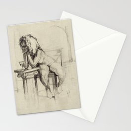 'The Unwinding' Charcoal Drawing Nude woman drinking Wine Stationery Cards