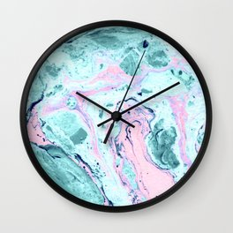 Colorful marbled paper Wall Clock