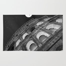 Colosseum in Rome Black and White Rug