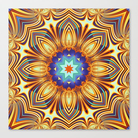 Kaleidoscope abstract with a flower shape and tribal patterns Canvas Print