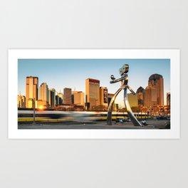 Traveling Man - Dallas Skyline Panorama Art Print