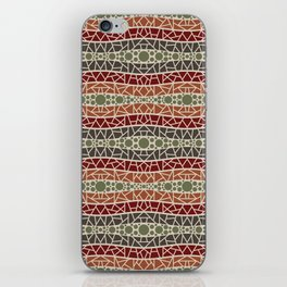 Mosaic Wavy Stripes in Olive, Terracotta, Burgundy and Brown iPhone Skin