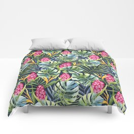 Tropical watercolor jungle pattern Comforters