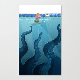 Childhood Fear: The Octopus in the Deep End Canvas Print