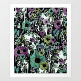 Mrs. Sandman, melting rose skull pattern Art Print